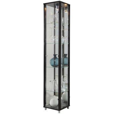 Optima vitrine & glasskap - svart (med speilbakstykke)