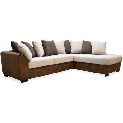 Delux sofa med åpen ende høyre - Brun/Beige/Vintage