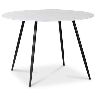 Art rundt spisebord 110 cm - Marmorert glass / Svart