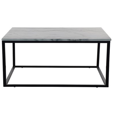 Accent sofabord 110 - Hvit marmor / Sort understell
