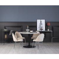 Plaza spisegruppe, marmorbord med 4 st Plaza fløyelstoler - Beige/Krom/svart