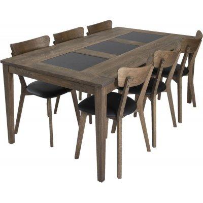 Habo spisegruppe inkl. 6 stk Ekeby stoler - Eik/granit