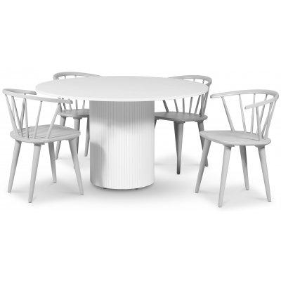 Pose spisegruppe: Bord Ø130 cm inkludert 4 stk grå Dalsland karmstoler - Hvitbeiset eik