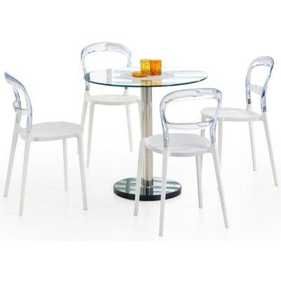 Violet bord - Transparent glass/Krom/Marmor