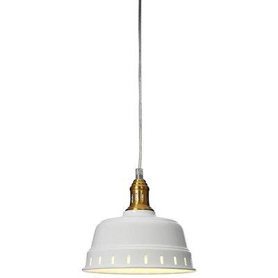 Pot vinduslampe - Hvit/vintage messing