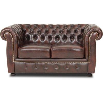 Dublin chesterfield 2-seter sofa - Brunt skinn