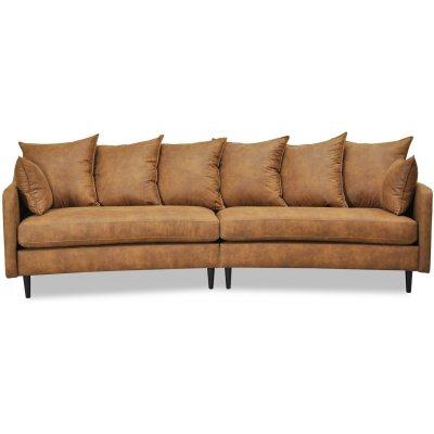 Gotland 4-seter buet sofa 301 cm - Cognac økolær