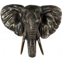 Veggdekorasjon Elefant - Brun/gull