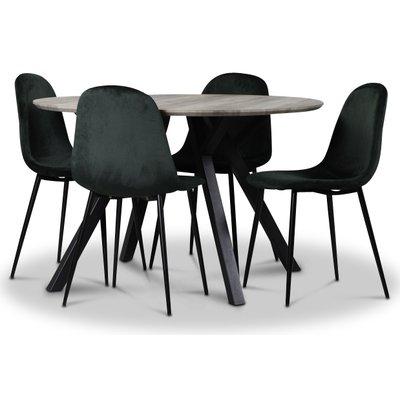 Smokey Spisegruppe, rundt spisebord med 4 stk Carisma fløyelsstoler - Mørkegrønn