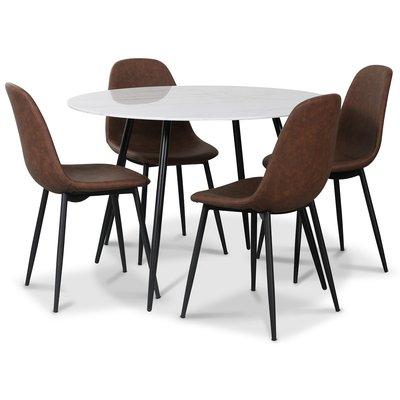Atlantic spisegruppe, 110 cm rundt bord + 4 st Atlantic Empire stoler brun PU