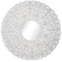 Carve rund speil 90 cm - Antikkhvit
