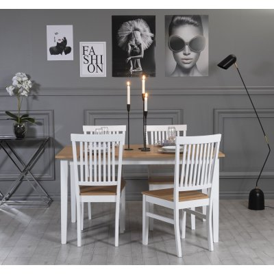Fårö spisegruppe: Bord 140 cm inkludert 4 stk Fårö stoler - Eik/hvit