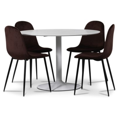 Seat spisegruppe, rundt spisebord med 4 stk Carisma fløyelsstoler - Hvit/Bordeaux