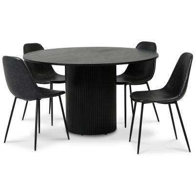 Pose spisegruppe: Bord Ø130 cm inkludert 4 stk skallstoler - Svart