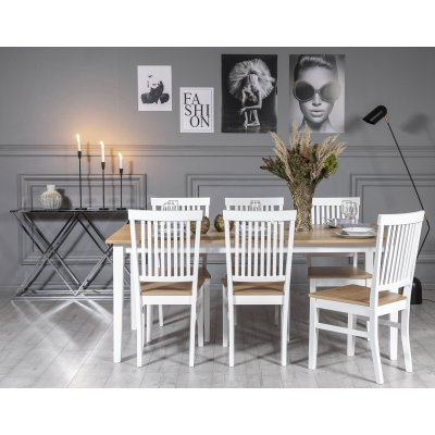 Fårö spisegruppe: Bord 180 cm inkludert 6 stk Fårö stoler - Eik/hvit