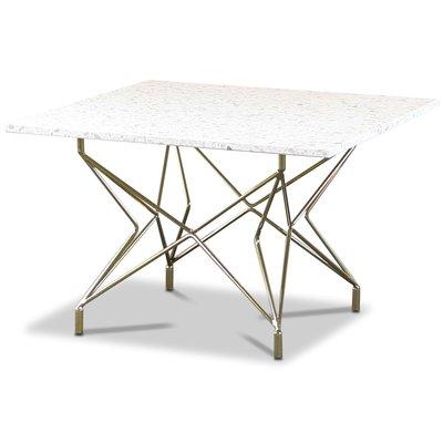 Terrazzo sofabord 75x75cm - Bianco Terrazzo & underdel Star messing