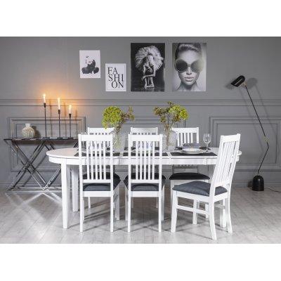 Gåsö spisegruppe ovalt utdragbart inkludert 6 stk Malö stoler - Hvit