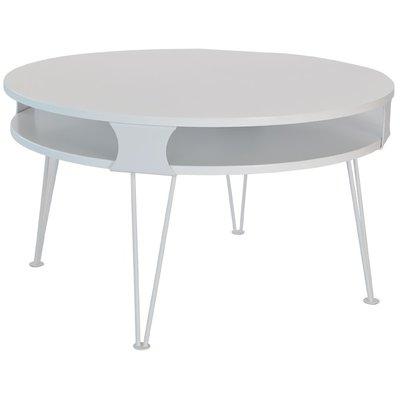 Smile Sofabord rundt - Hvitt med hvite metallben