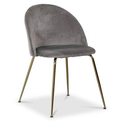 Art velvet stol - Lysegrå / Messing