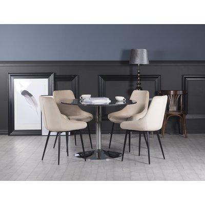 Plaza spisegruppe, marmorbord med 4 st Theo fløyelstoler - Beige/Grå/Krom