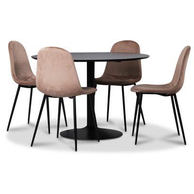 Seat spisegruppe, spisebord med 4 stk Carisma fløyelsstoler - Svart/Korall