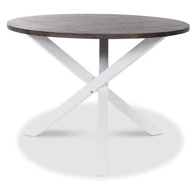Skagen rundt spisebord - Hvit/brun