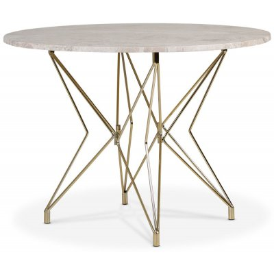 Zoo spisebord Ø105 cm - Messing / Sølvmarmor