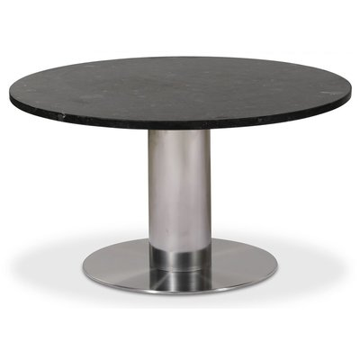 Next 85 rundt stuebord - Børstet stål / marmor (Donau Granitt)