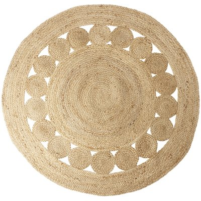 Håndgjort Juteteppe - Juni sirkel 150 cm diameter