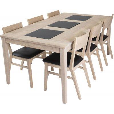 Visingsö spisegruppe inkl. 6 stk Flen stoler - Hvitoljet eik/granitt