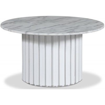 Sumo Salongbord Ø85 - Hvitbeiset eik / Lys marmor