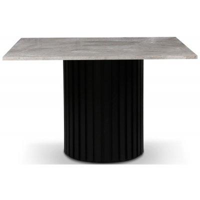Sumo spisebord 120x120 cm - Svartbeiset / Sølvmarmor