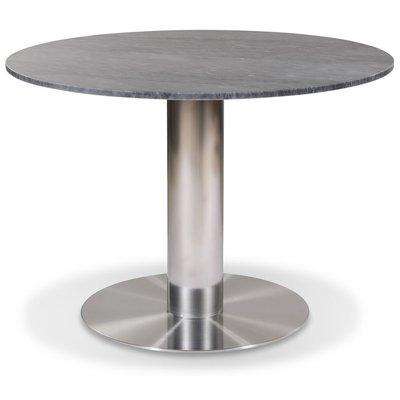 Next 105 rundt spisebord - Børstet stål / Marmor (Grå)