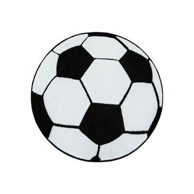 Barneteppe Brigid fotball - Sort/Hvit - Rundt Ø120 cm