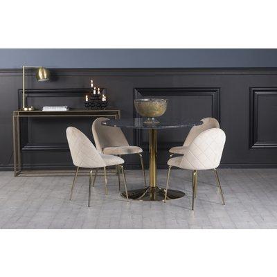 Plaza spisegruppe, marmorbord med 4 st Plaza fløyelstoler - Beige/Grå/Messing