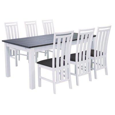 Skagen spisegruppe - Bord inklusive 6 st stoler - Hvit/Brun