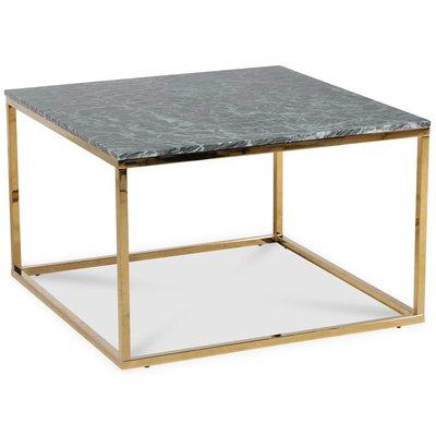 Accent stuebord 75 - Grønn marmor / Blank messing