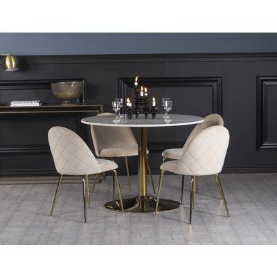 Plaza spisegruppe, marmorbord med 4 st Plaza fløyelstoler - Beige/Hvit/Messing