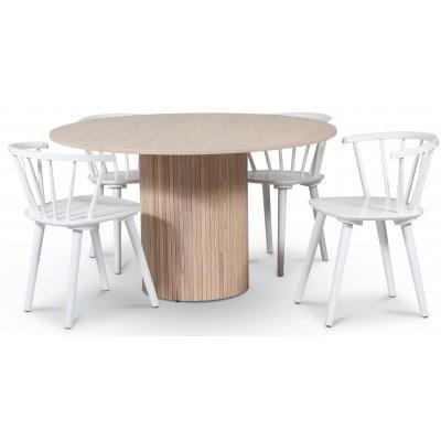 Pose spisegruppe: Bord Ø130 cm inkludert 4 stk hvite karmstoler - Whitewash