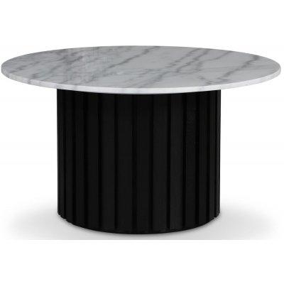 Sumo Salongbord Ø85 - Svartbeiset / Lys marmor