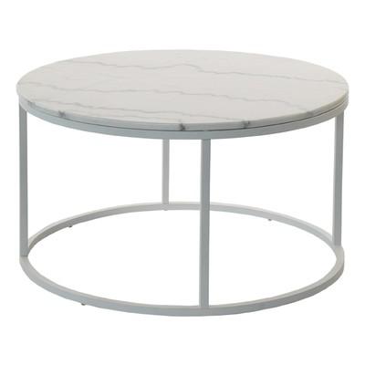 Accent sofabord rundt 85 - hvit marmor