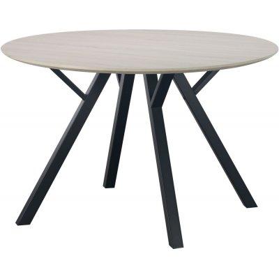 Ankara spisebord runt 120 cm - Whitewash/svart