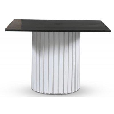 Empire spisebord - Granitt 90x90 cm / Hvit lamell trefot