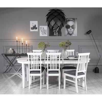 Gåsö spisegruppe ovalt utdragbart inkludert 6 stk Malö II stoler - Hvit