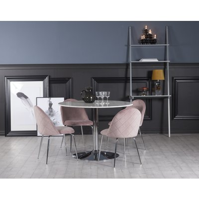 Plaza spisegruppe, marmorbord med 4 st Plaza fløyelstoler - Rosa/Hvit/Krom