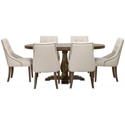 Spisegruppe: Lamier spisebord rundt + 6 st Tuva Europa beige stoler