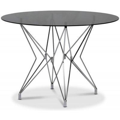 Zoo spisebord Ø106 cm - Krom / Tonet glass