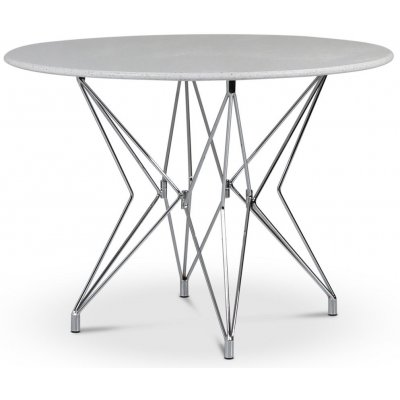 Zoo spisebord Ø105 cm - Krom / Terrazzo Bianco