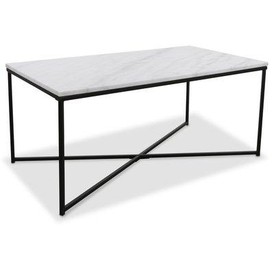 Maryland sofabord 110 - Hvit ekte marmor/svart
