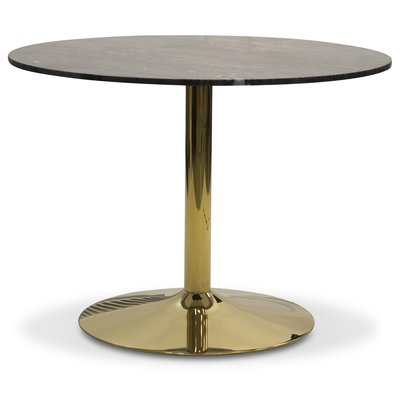 Plaza rundt spisebord - Grå marmor/Messing